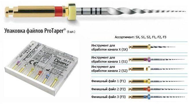 Протайпер - ProTaper Universal - машинные - ассорт. (S1,S2,F1,F2,F3,SX), длина 25 мм