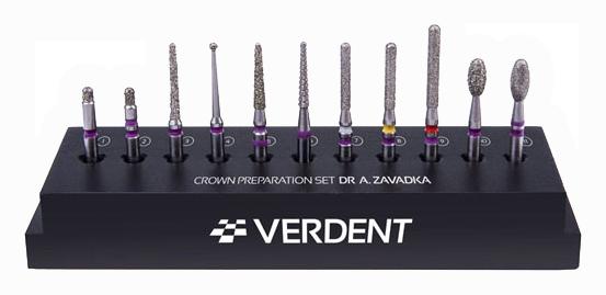 Набор алмазных боров для препарирования зуба под коронку за 10 минут по системе CCQ Андрея Завадки,Verdent, Польша